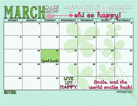 printable calendar 2015 for march march 2015 calendar and print inkhappi