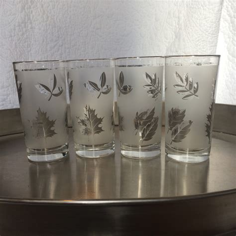 vintage barware glasses vintage glassware frosted tall tumbler drinking glasses