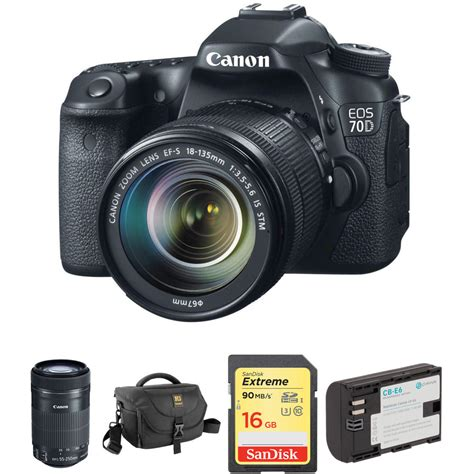Kamera Canon Eos 70d Kit 18 135mm canon eos 70d dslr with 18 135mm and 55 250mm