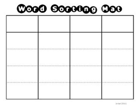 Card Sort Template 4x2 by Word Sorting Mat Card Template Student The Words