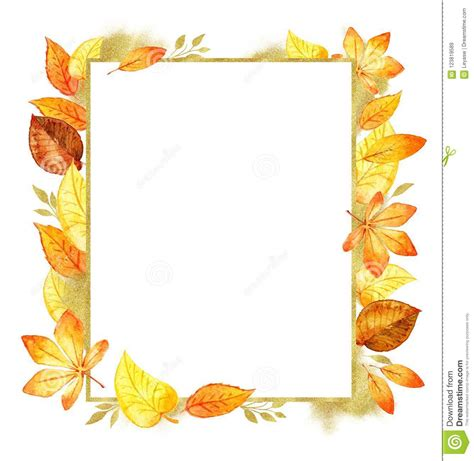 Chic Floral Orange And Thanksgiving Place Cards Template by Autumn Leaves Fall Frame Template Watercolor Isolated
