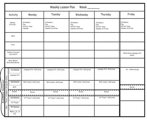generic lesson plan template kindergarten lesson plans week 2 heidi songs