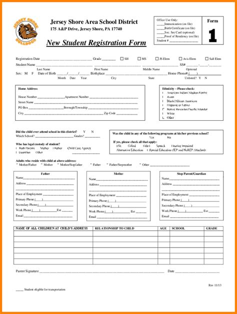 20 preschool enrollment form template registration