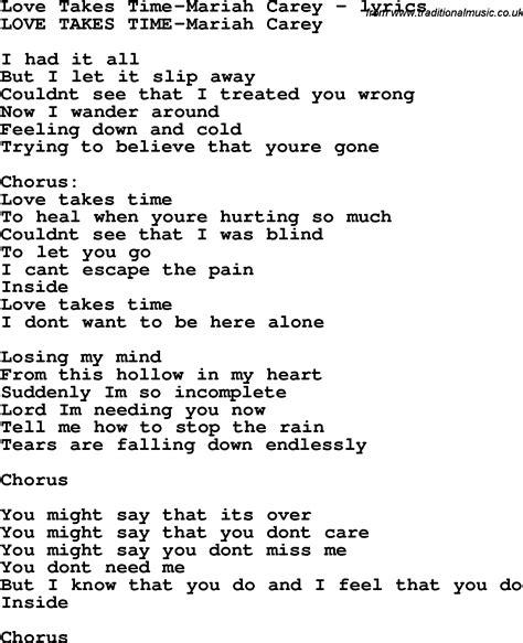 lyrics carey song lyrics for takes time carey