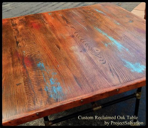 Kitchen Tables Made From Barn Wood Made Custom Reclaimed Oak Dining Table Industrial Table Barn Wood Dining Table By