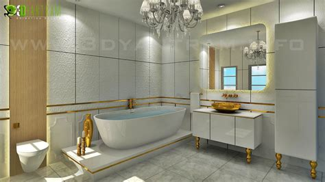 classic bathroom design with golden accessories by 3d