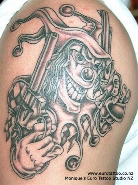 gangster clown tattoos 21 gangsta clown tattoos and designs