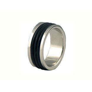 s stainless steel black rubber rings gemologica a