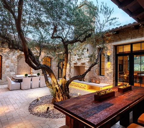 houses with courtyards in the middle olive tree in middle of patio patio pinterest