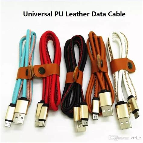 Micro Usb Cable Leather 1m For Android pu leather fast charge cable for samsung v8 universal data