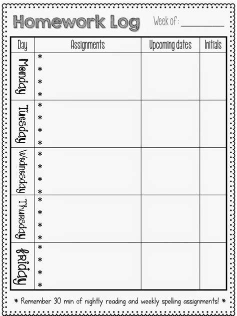 weekly homework template best 25 weekly homework sheet ideas on