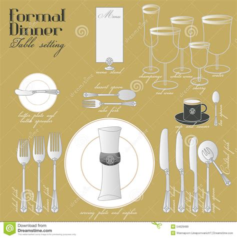 formal dinner table setting stock image image 54629489