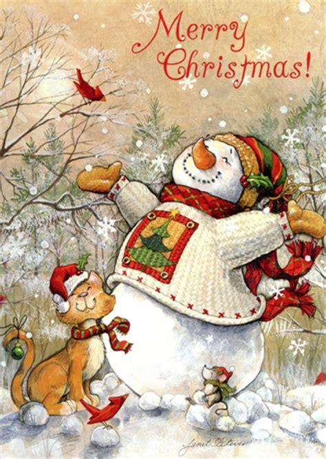 snowman  cat winter bliss christmas card  lpg
