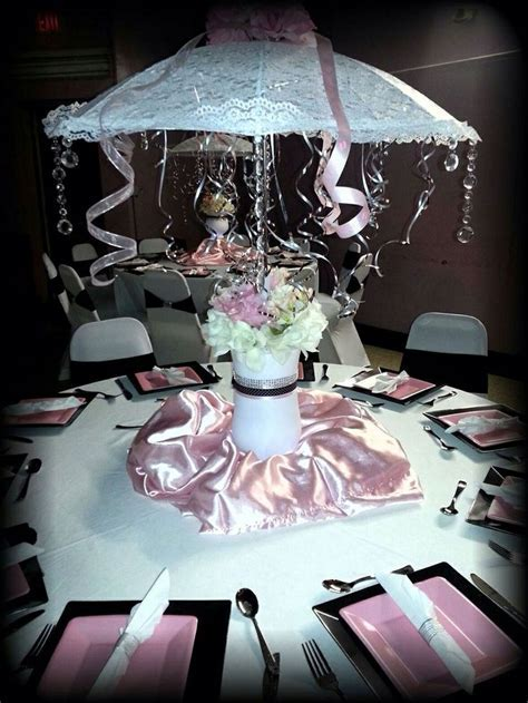 Umbrella centerpiece   Baby shower decorations   Pinterest