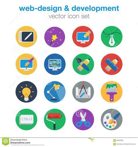 design icon vector flat web design and development icon set stock vector