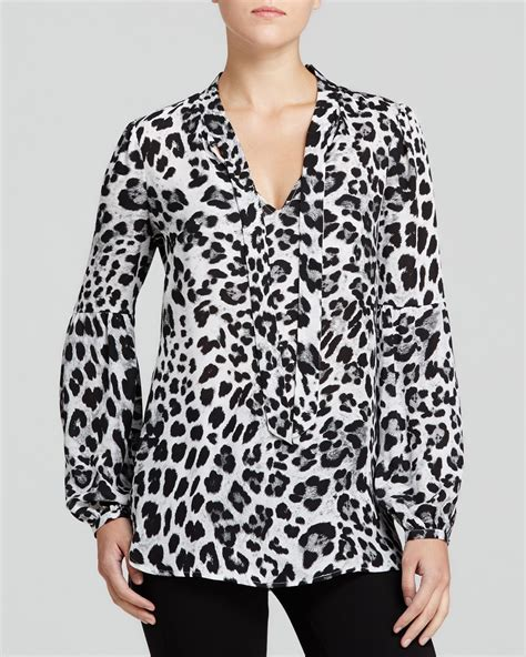 And Black Leopard Print Blouse by Lyst Michael Michael Kors Snow Leopard Print Blouse In Black