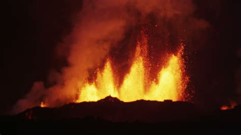 Outdoor Magma Sandal Orange Smoke up of spectacular eruption cg volcano stock