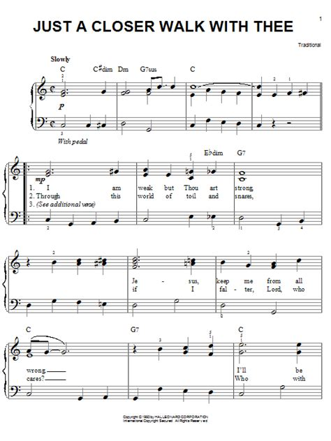 printable lyrics to just a closer walk with thee kenneth morris just a closer walk with thee easy piano