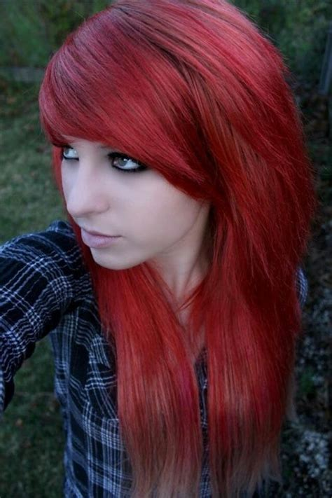 Diy Emo Hairstyles | long red emo hairstyle for girls styles weekly