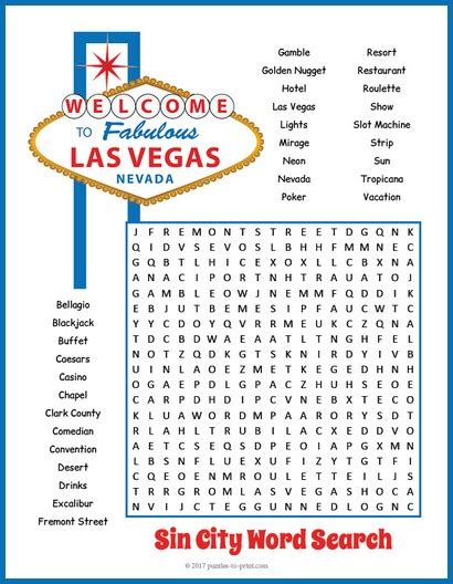 Las Vegas Search Crossword Puzzles To Print Pkhowto