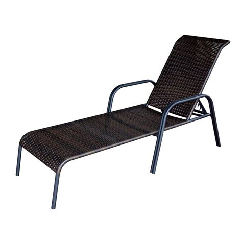outdoor chaise lounge chair shop garden treasures pelham bay brown wicker stackable