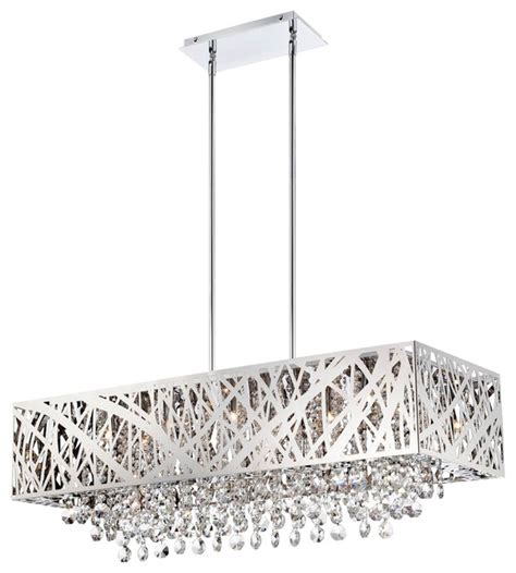 Modern Rectangular Crystal Chandelier Lite Source Ls El 10104 Benedetta Modern Contemporary