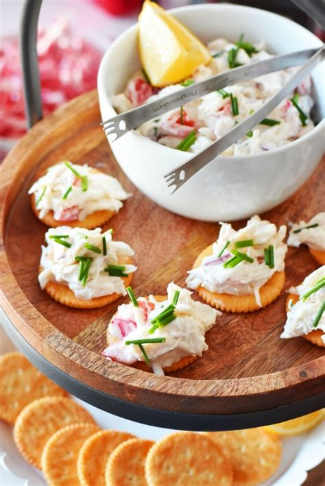 quick delicious appetizers real crab salad cracker appetizer so easy and delicious