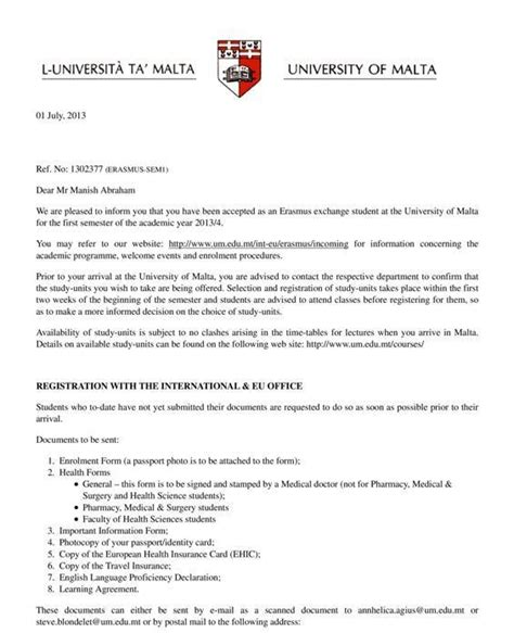College Admission Acceptance Letter Acceptance Letter From Of Malta Erasmus Experiences In Malta