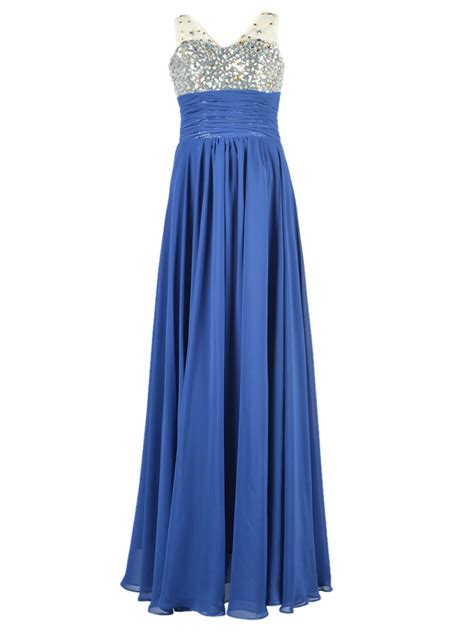 Saphire Maxy by Sapphire Blue Rhinestone Beaded Sleeveless Maxi Dress Choies