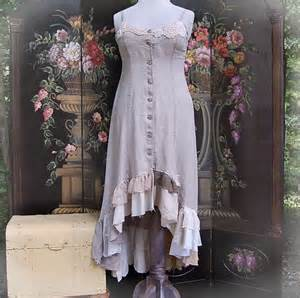 shabby chic fashion hi low dress linen jumper tunic steunk lace ruffles
