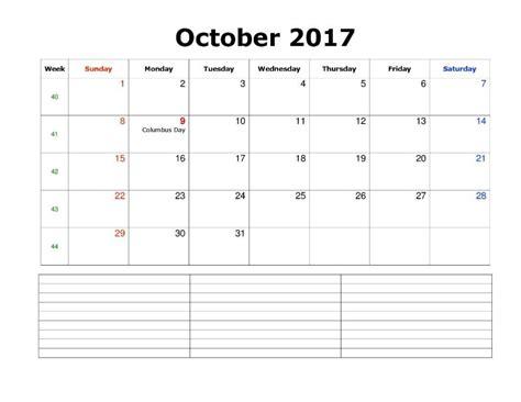 Calendar 2017 Printable With Notes October 2017 Calendar With Notes Calendar Template