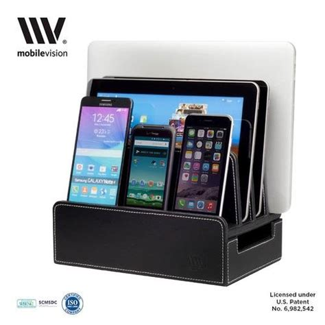 charging station organizer for multiple devices mobilevision charging station slim black faux leather