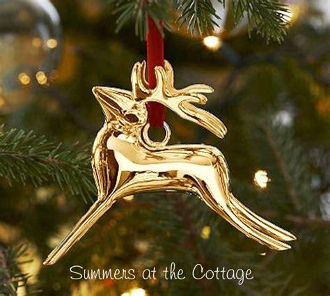 barn ornaments pottery barn reindeer gold tree ornament gold deer
