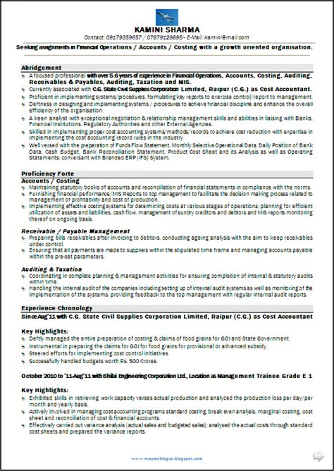 Exle Resume Accounting Year Experience Resume Sle Cma Cs M 6 Years Experience Resume Formats