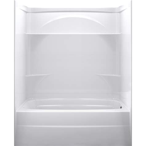 three piece bathtub shop delta styla high gloss white acrylic wall and floor 3