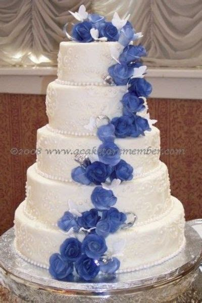 Blue Flower Wedding Cake by White Wedding Cake With Blue Flowers Wedding Cakes