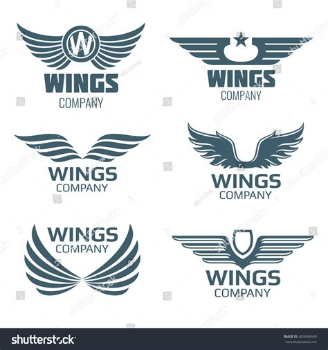 Komik Seriesyour White Wings Your Wings vector wings logo set winged logo stock vector 403996549