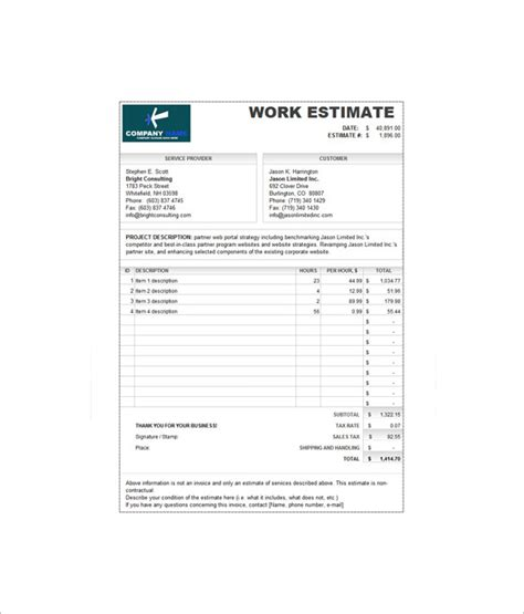 sle business invoice template 7 estimate invoice templates free word pdf excel