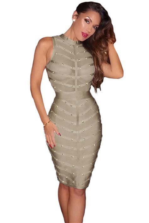 Light Grey Studded Bandage Dress   Charming Wear