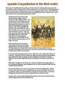spanish conquistadors primary source worksheet lesson