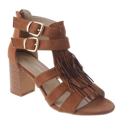 Sandal Jepit Keroppi Size 31 35 womens zip up boho fringe mid high block heel buckle zip up sandal size ebay