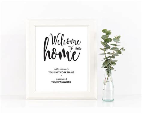 Wifi Password Card Template by Black And White Welcome To Our Home Wifi Password Printable