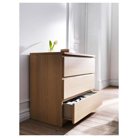 malm 3 drawer chest malm chest of 3 drawers white stained oak veneer 80x78 cm