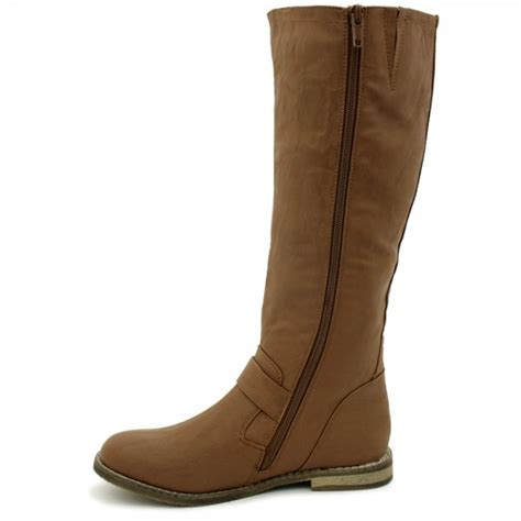 womens flat leather style knee high buckled biker