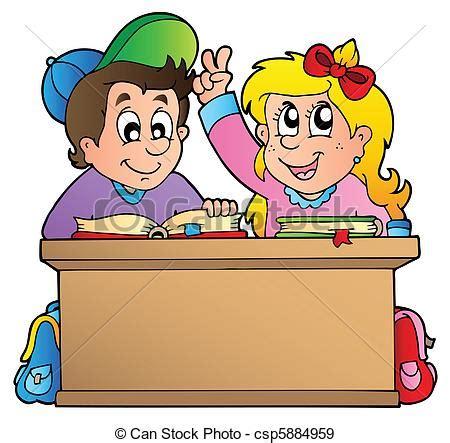 clipart bambini a scuola vettori eps di scuola bambini due scrivania due