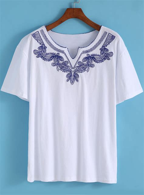 embroidered sleeve shirt white v neck sleeve embroidered t shirt shein