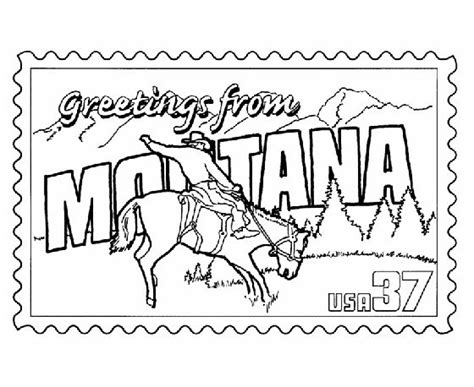montana state st coloring page usa for kids pinterest