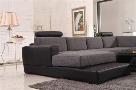 Leather And Fabric Sectional Sofa Divani Casa Modern Black Grey Fabric Leather Sectional Sofa Modern Sofas Living Room