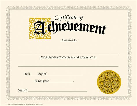 free printable certificate of achievement template editable and blank certificate of achievement template