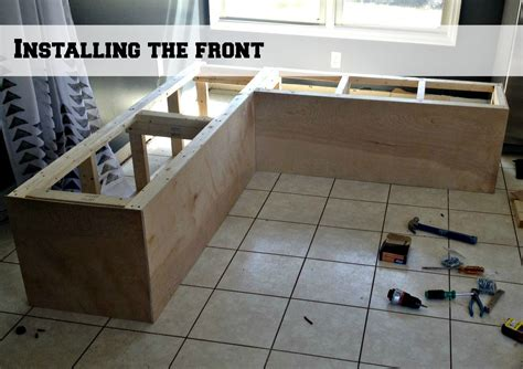 How To Build Banquette Seating With Storage by Remodelaholic Build A Custom Corner Banquette Bench
